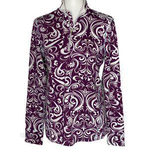 Athleta 3/4 zip Purple Floral Pullover Jacket L